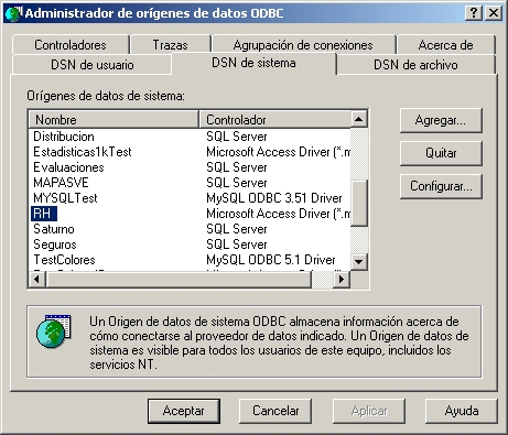 Pantalla de ODBC