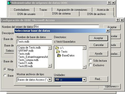 Seleccionar la unidad de red y la Base de Datos