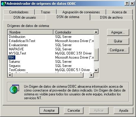 Pantalla de ODBC
